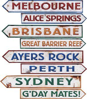 "Pack of 4 Australian signs, printed 2 sides with different designs, perfect for any australian party! Each sign measures: 4"" x 24"""