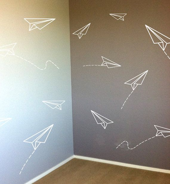 such sweet paper planes!! | Vinyl Decals for Kids Rooms | Etsy #featheryournest