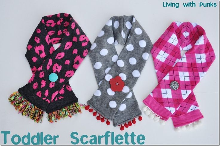 DIY Crazy cute scarf made from socks and pom poms. Want to make one for your little punk?
