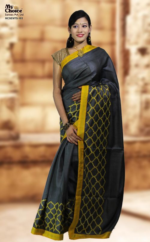 GREY COLOR TUSSAR EMBROIDERED SAREE