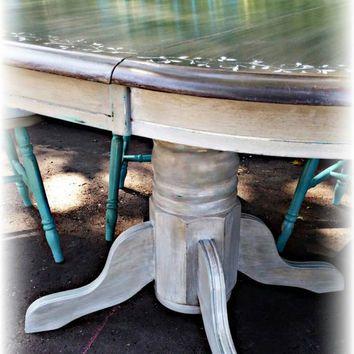 Farmhouse table, beachy table, farmhouse dining set, beachy dining set, gray table, turquoise dining set, rustic dining set, shabby chic set