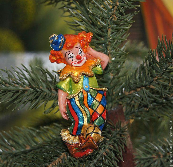 Купить Клоун Ёлочная игрушка. фигурка, статуэтка. - клоун, клоуны, Папье-маше, папье маше