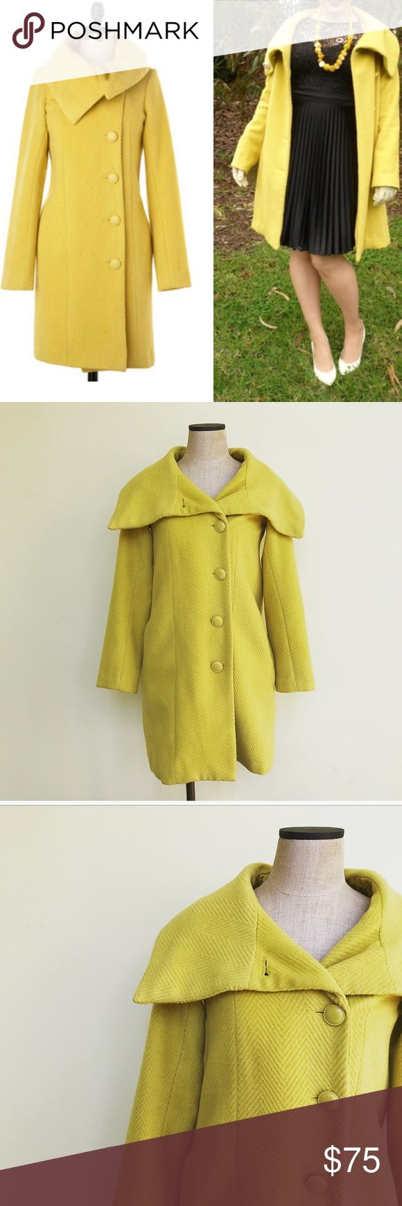 BB Dakota Wool Coat Gorgeous mod inspired yellow wool coat. Perfect pop of color for fall/winter. Size small. In excellent pre-worn condition. Wool blend. No flaws. No trades! BB Dakota Jackets & Coats