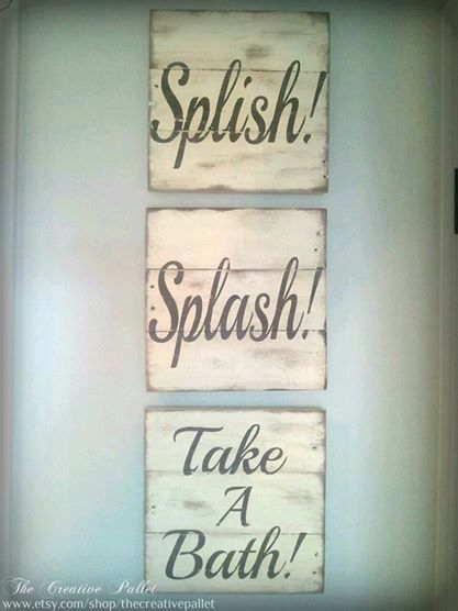 Splish! Splash! Take A Bath! painted wood signs. Each sign is 10 1/2 x 10 1/2. Each sign is painted, distressed and antiqued using a special technique to give them a vintage look. This set looks great hung horizontally or vertically. Choose your colors to match your bathroom! If there is a color combo you would like that is not listed, please write requested colors in the note to seller box at checkout.  All of my signs are hand crafted from naturally aged pallets and painted with excellent…