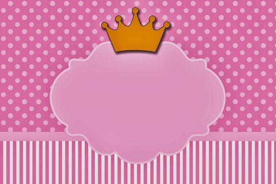 Coronas en Fondo Rosa: Invitaciones para Imprimir Gratis.: