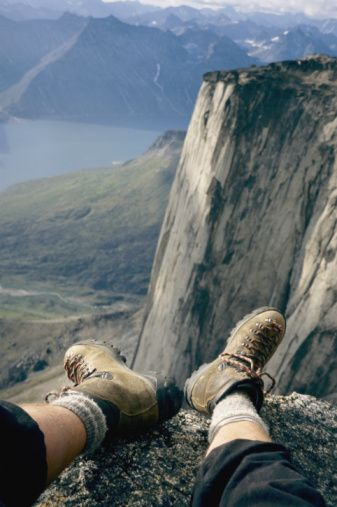 Stock Photo : View of a climber's feet