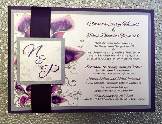 Customizable Purple Calla Lily Back Pocket Wedding Invitation