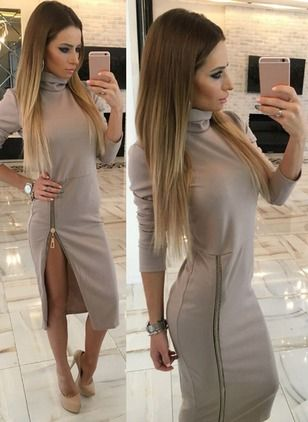 Cotton Blends Solid Long Sleeve Mid-Calf Sexy Dresses (1026955) @ floryday.com