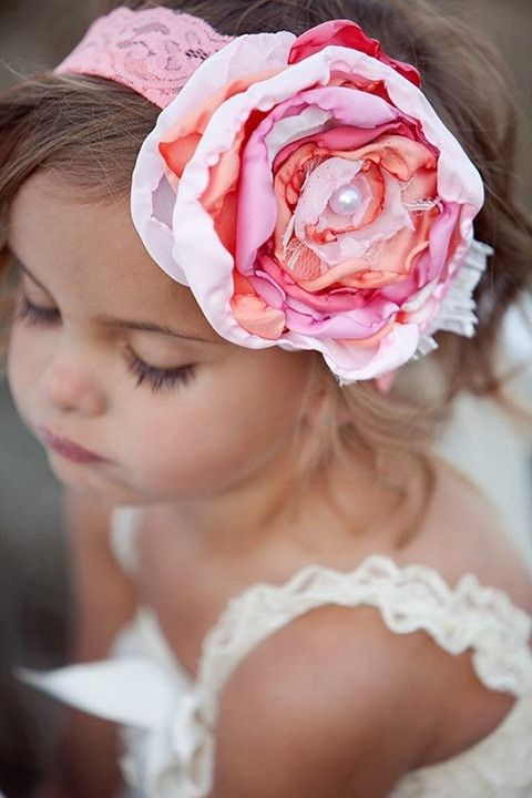 Flower girl with pink flower CUTE