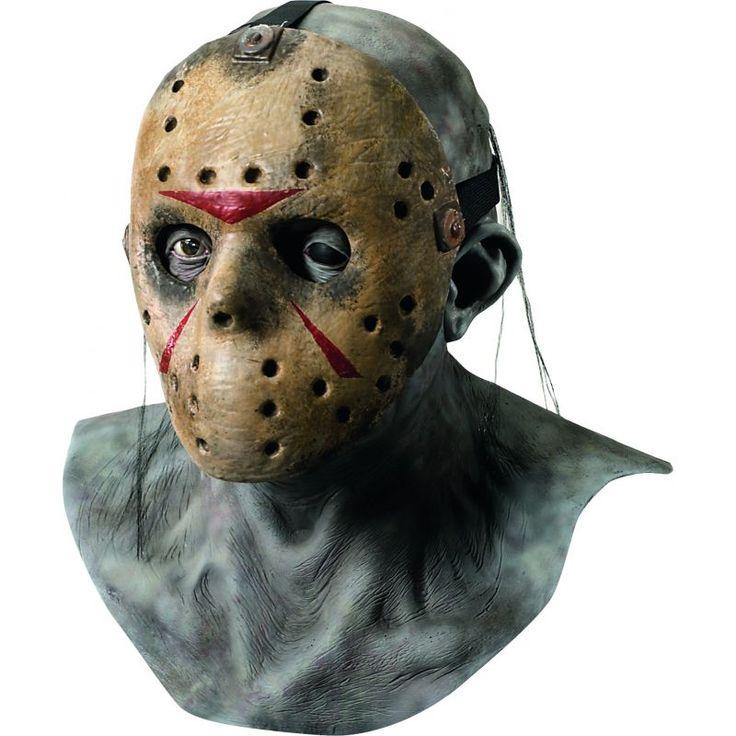 Ce masque de luxe est sous licence officiel Freddy contre Jason™. Le masque est en latex gris, complément intégral, il représente le visage de Jason™ sans le masque, plutôt défiguré.  Un deuxieme vient se mettre par dessus le précédent grâce à une sangle,