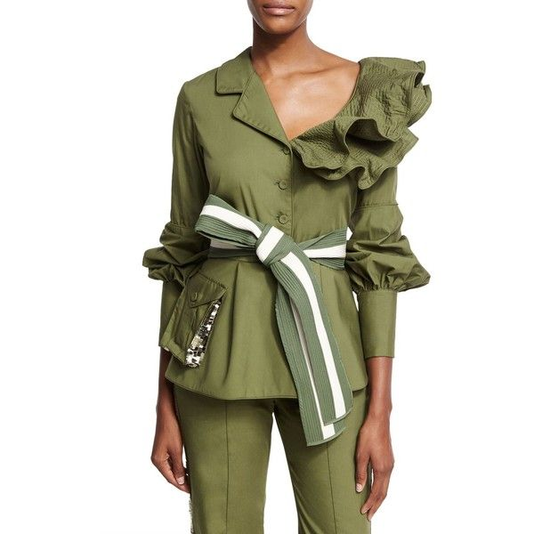 Johanna Ortiz Paz Belted Ruffled Feminine Military Jacket (15,745 MXN) ❤ liked on Polyvore featuring outerwear, jackets, olive, olive green army jacket, army jackets, ruffle jacket, straight jacket and green sequin jacket