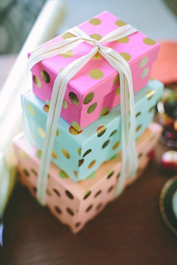 gold polka dot gift wrap
