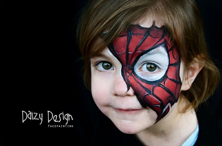 half face spiderman face painting boys schminken jongens. Black Bedroom Furniture Sets. Home Design Ideas