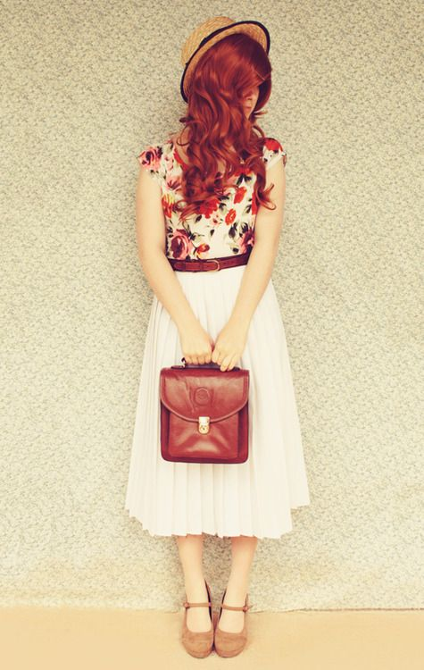 Floral top with pleated skirt