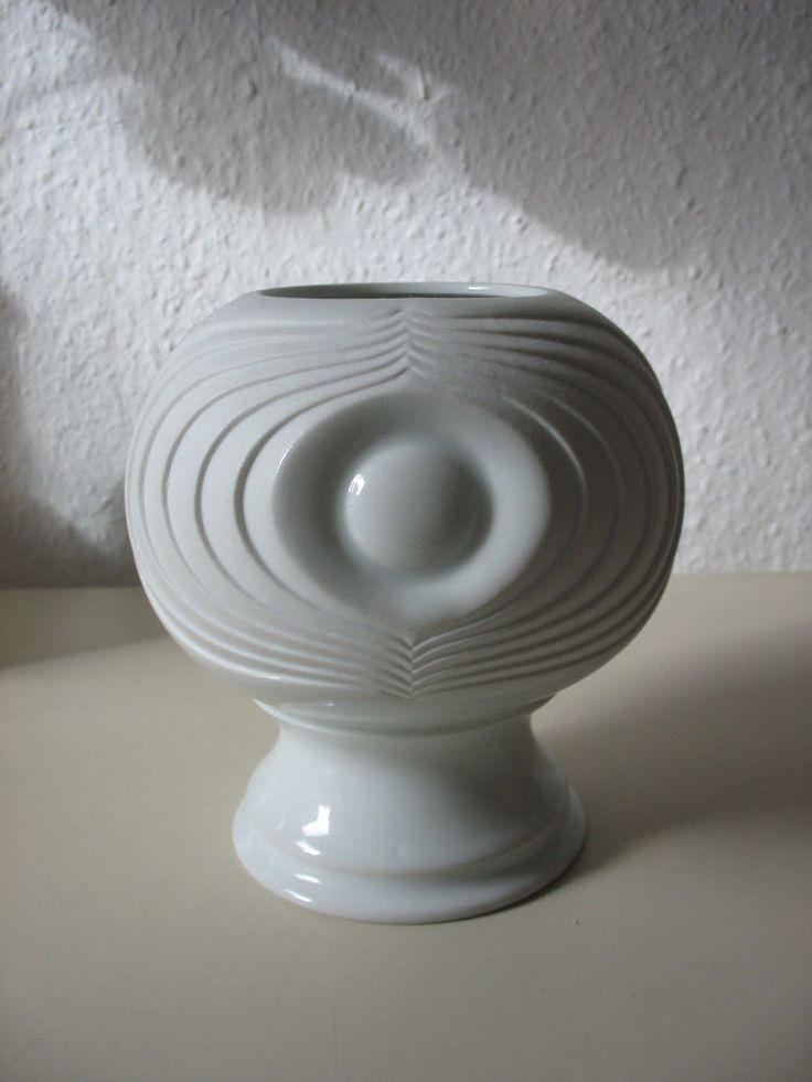 Pop Art Vase von Kaiser im Dekor Swing mit Fuß 60er 70er