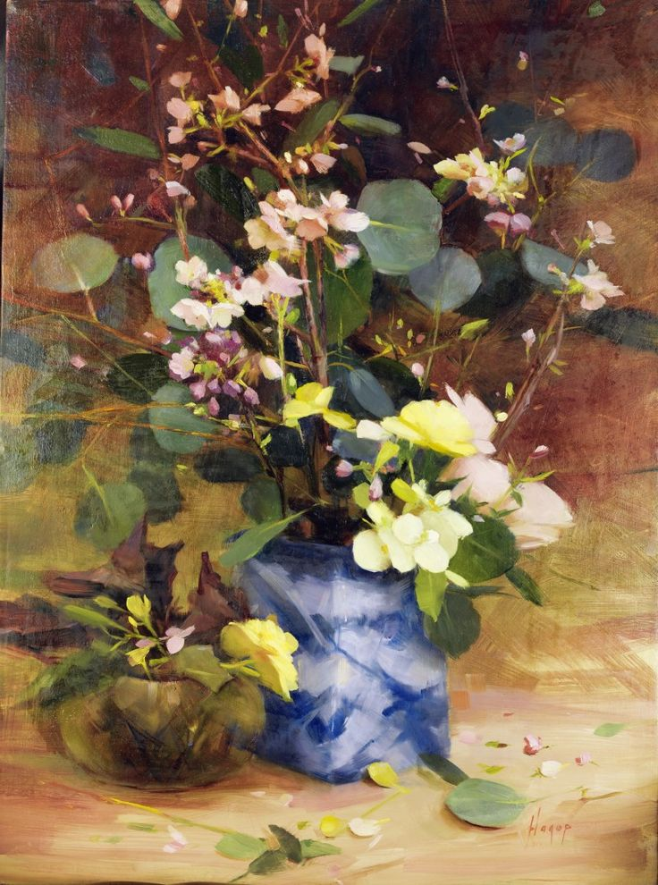 Hagop Keledjian Blue Vase with flowers