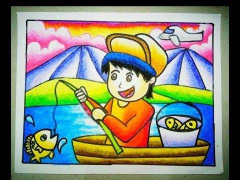 Cara Menggambar Dan Mewarnai Gradasi Crayon Orang Memancing Youtube Tantangan Menggambar Menggambar Kreatif Cara Menggambar