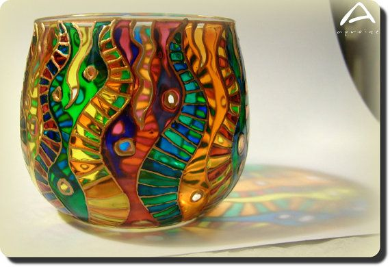 Delicate Hand-painted Glass Candle Holder With Colourful Worm Motives