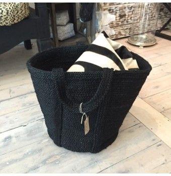 black jute basket - large