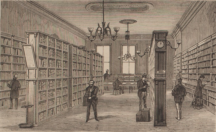 Library in the Sydney School of Arts June 1879    1879    From the collection of the State Library of New South Wales [TN115] (Illustrated Sydney News 14 June 1879 p 4)      1879    From the collection of the State Library of New South Wales [TN115] (Illustrated Sydney News 14 June 1879 p 4)