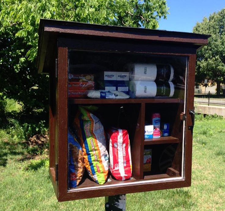 Riffing on the thriving Little Free Library movement, one woman in Fayetteville, Arkansas has started the first Little Free Pantry. Jessica McClard's idea is simple: rather than leaving or taking a book, people leave and take non-perishable food and household goods, including toothpaste, garbage bags, deodorant and toilet paper. Those with surplus supplies leave them and those in need are welcome to take them.