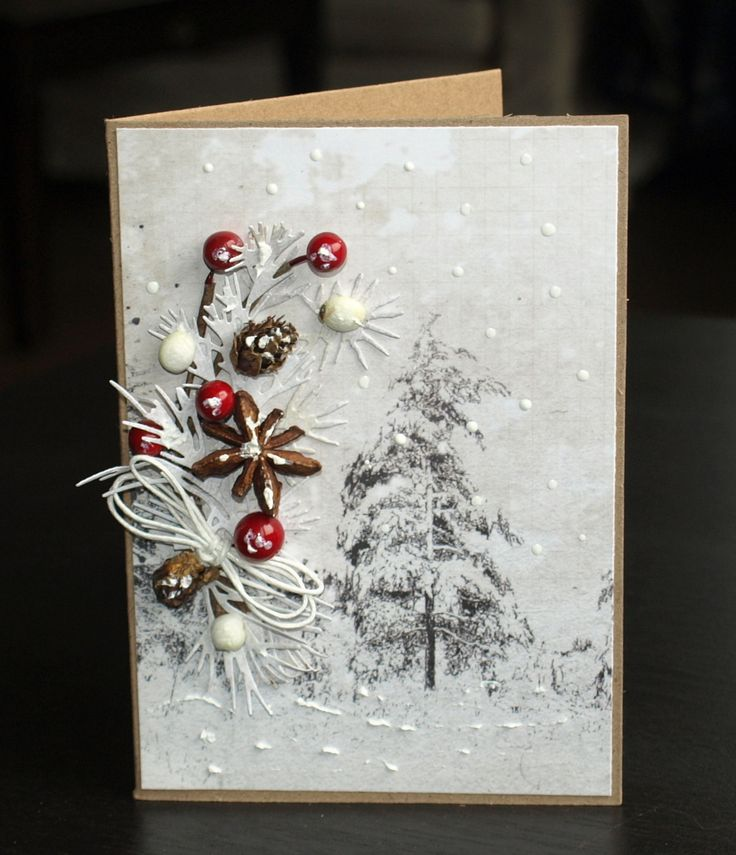 Vánoční+přání+28+Přání+k+vánocům+hnědý+základ+je+doplněný+sbpapírem,+výseky,+kořením,+šiškami.+Dodáno+s+obálkou,+zabaleno+Velikost+A6