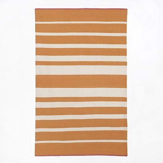 Gradated Stripe Cotton Rug  Tangerine | West Elm