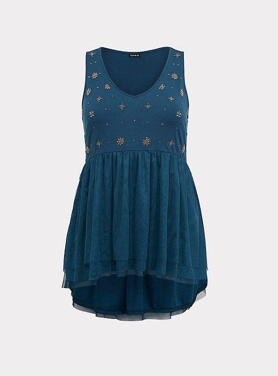 3759a6e9d Blue Mesh Embellished BabydollBlue Mesh Embellished Babydoll