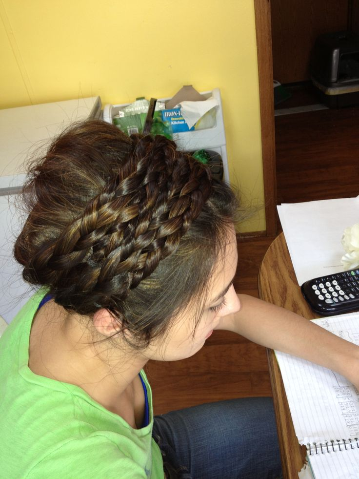 Four braid headband and updo