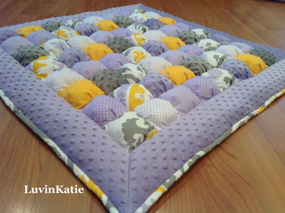 Baby Bubble Quilt, Puff Quilt, Baby Floor Mat, Tummy Time Mat  in Lavender Yellow and Gray