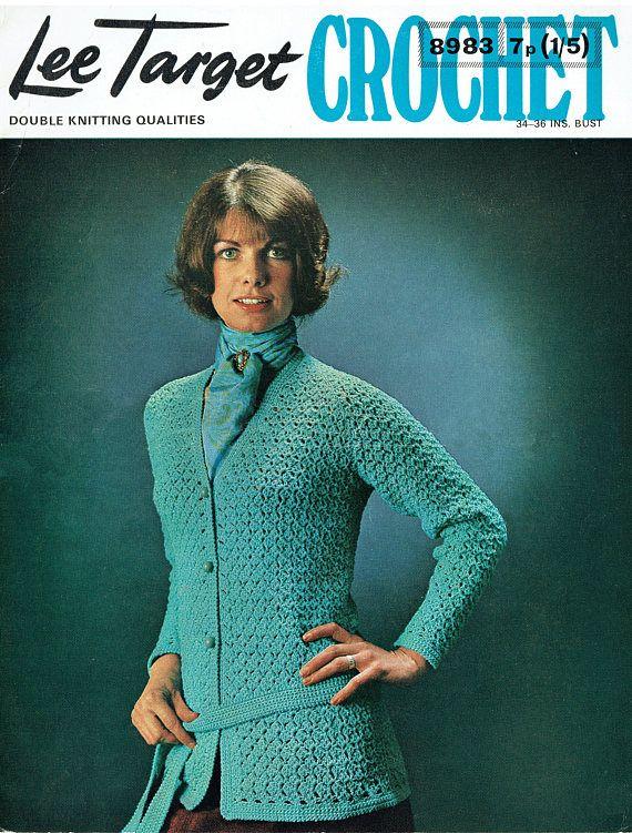 PDF Vintage 1970s Ladies Womens Crochet Pattern Lacy Blue