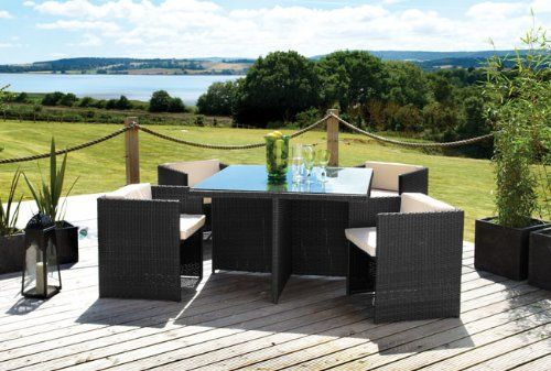 4 Seat CUBE, All-weather Rattan Weave Table & Chair Patio Garden Furniture Set - OUTDOOR, INDOOR, or CONSERVATORY. Black colour.