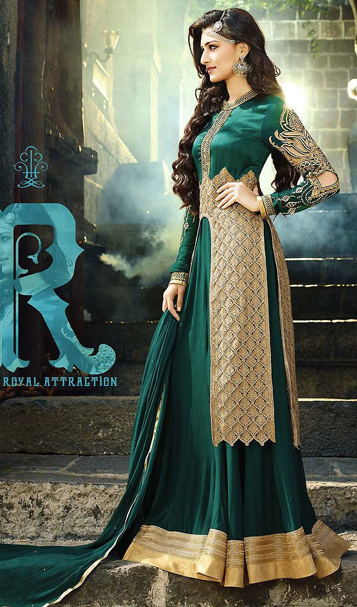Stylish Rama Green Faux Georgette Floor Touch Anarkali Suit