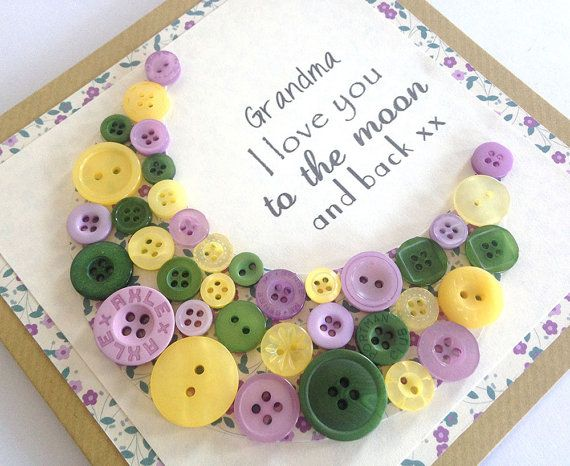 Grandma Card - I Love You to the Moon and Back Card - Button Art Card - Mothering Sunday Card - Grandma Birthday - Grandma Mothers Day