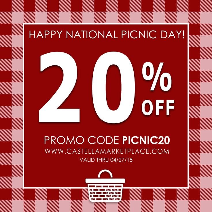 Happy National Picnic Day! Make sure to fill up your picnic basket with all of your Castella favorites. Use the promo code PICNIC20 for 20% off in the Castella Marketplace!