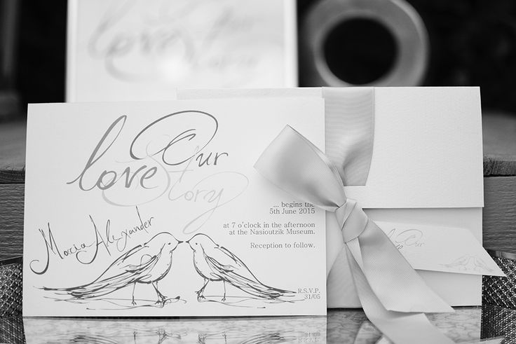 Handwritten Invitations for your Romantic Wedding, Lovebird Story, Subtle Elegance by Chirography #Lovestory #Calligraphy #handlettering