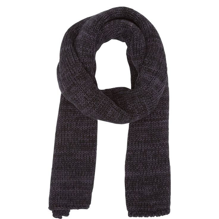 Senorita Navy - Grof gebreide sjaal in een meleewol van donker grijsblauw en zwart van het stoere merk Black Lily.