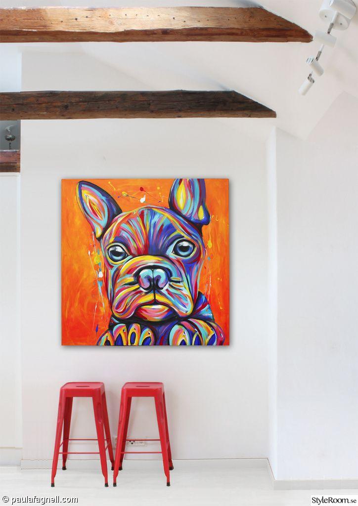 stor tavla,tavla,färger,färgstark,färgglada,tavlor,konst,konstnär,orange,inredning,fransk bulldog,french bulldog,frenchy,fralla,tolix,vindsv...