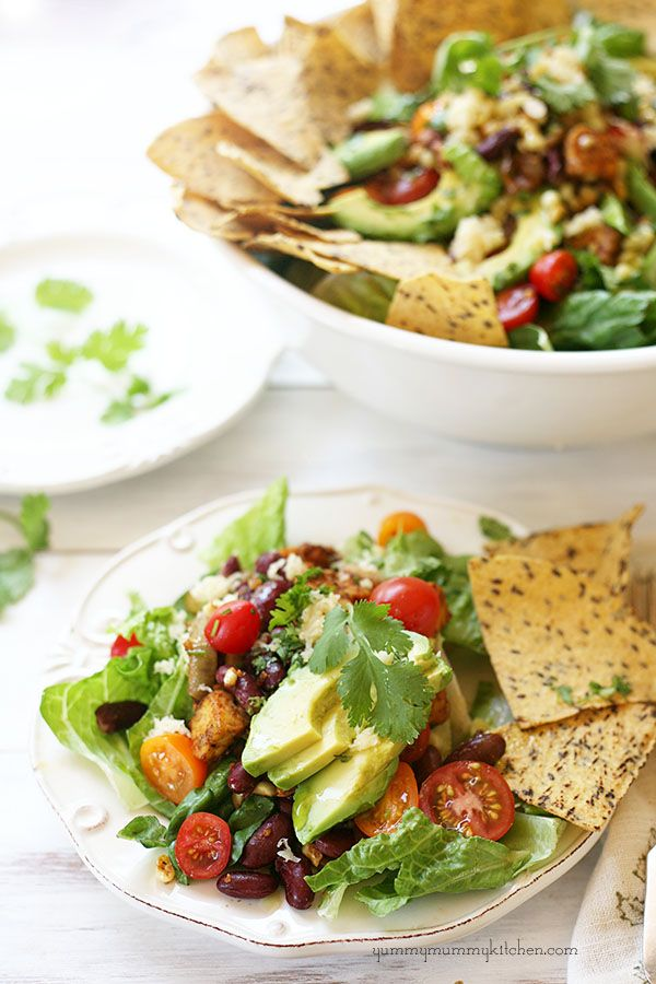 Healthy Vegetarian Taco Salad - I am in this fight with you. I want this to be a lifestyle change not just a diet. I plan on fixing a Pinterest salad on Sunday night and eating on it for lunch or a side during the week.