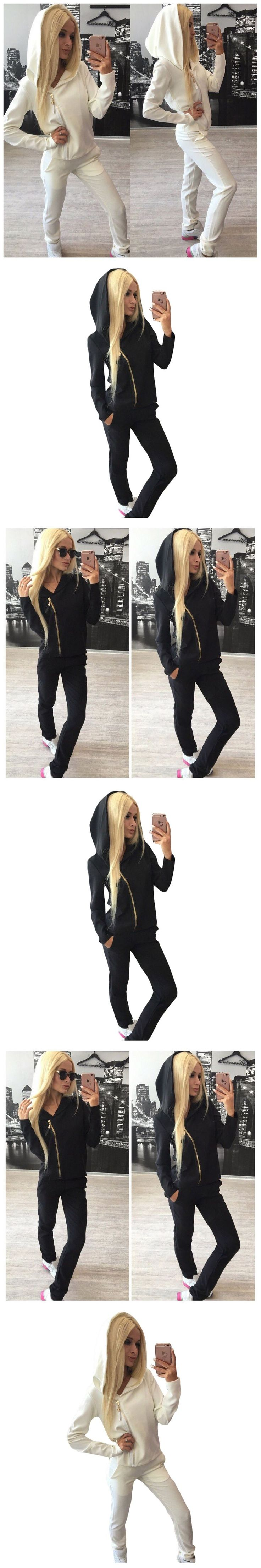 Women Casual Long Sleeves Inclined Zipper Hoodies+long Pants Sets Knitting Set Ladies Casual Tracksuits Sportswear