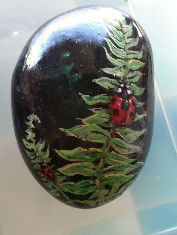 Painted Mexican Beach Rock, pretty ladybug on a leaf. Shell look wonderful hiding amongst the foliage in your favorite potted plant.