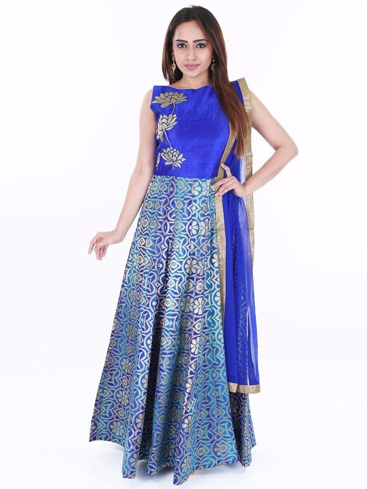 Blue Raw Silk Wedding Wear Designer Ready Made Anarkali Suit