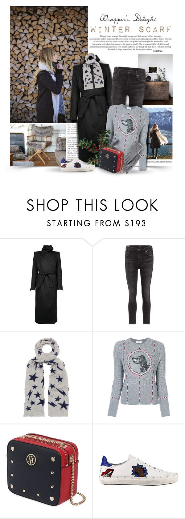 """""""Winter Scarf"""" by thewondersoffashion ❤ liked on Polyvore featuring Ann Demeulemeester, Citizens of Humanity, Lily and Lionel, Trilogy, Thom Browne, Tommy Hilfiger, Rebecca Minkoff and Echo"""