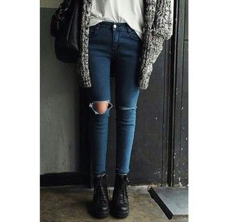 jeans skinny jeans ripped skinny jeans ripped shiny jeans tight high waisted jeans dark wash jeans navy jeans boots black boots knitwear cardigan white top black bag fashion inspo outfit idea style stylish trendy blogger fashionista chill on point clothing cute jacket shoes