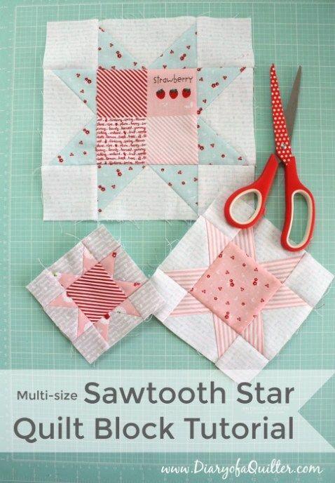 Sawtooth star quilt block tutorial