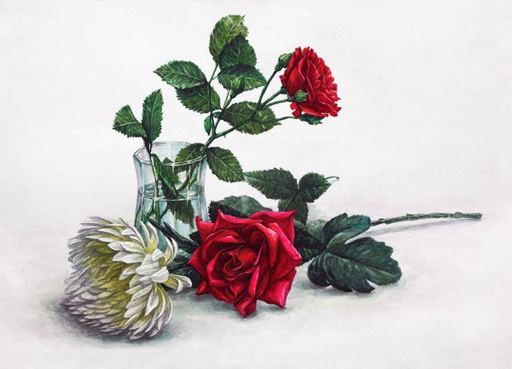 달동네 그림연구실 :: [정물수채화] 국화,장미,유리컵 과정작