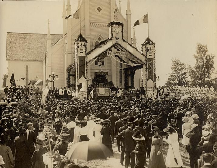 English: National Acadian Day, Shediac, New Brunswick, Canada.  Français : Fête nationale de l'Acadie, Shédiac (N.-B., Canada)  Date	  15 August 1909