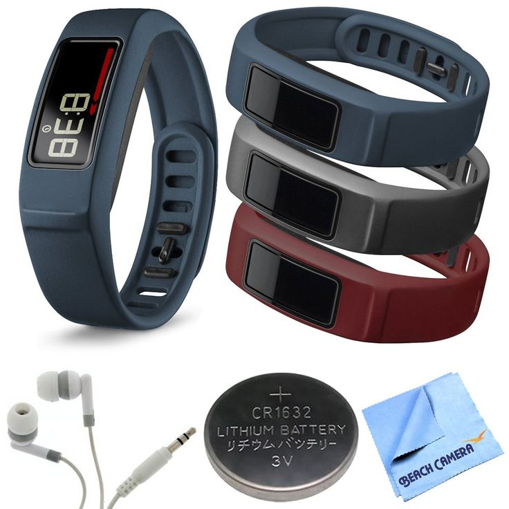 Garmin Vivofit 2 Bluetooth Fitness Band (Navy)(010-01503-02) Burgundy/Slate/Navy Bundle. Garmin vivofit 2 with Large and Small Band. Garmin vivofit 2 Wrist Bands (Large) (Burgundy/Slate/Navy). Noise Isolation Headphones. 3 Volt Lithium Button Cell Watch Battery. Microfiber Cleaning Cloth.