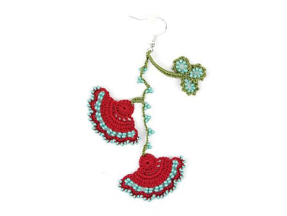 Check out this item in my Etsy shop https://www.etsy.com/listing/555075548/crochet-earrings-handmade-red-turquoise
