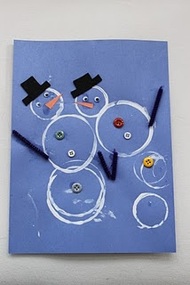 Snowpeople - dip three different sized plastic cups in white paint - make circle print on blue, red or green construction paper - decorate with buttons, felt arms & hat